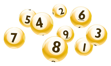 Lottery Number 1 to 9 Balls Set - Yellow Theme Illustration