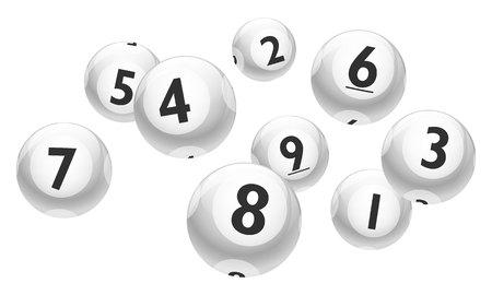 Lottery Number 1 to 9 Balls Set - White Theme Illustration