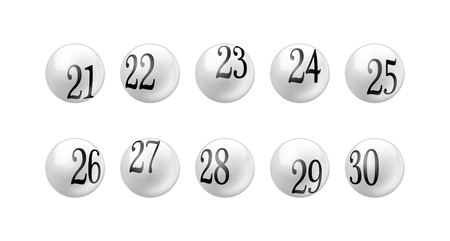 Lottery Number 21 to 30 Balls Set Illustration