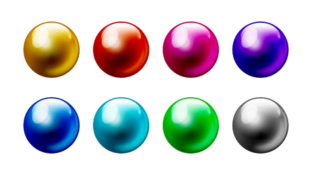 Color pearl balls set Isolated on white background 8 colors