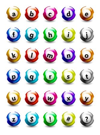 Colored Balls Set with Lowercase Letters and symbols