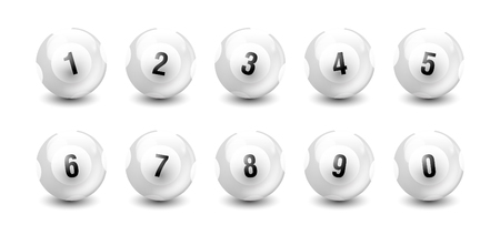 White Number Balls from 0 to 9