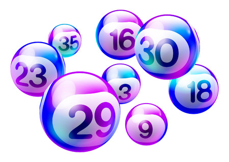 Colorful Purple Holographic 3D Bingo Lottery Number Balls Isolated on White Background