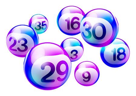 Bunte lila holographische 3D-Bingo-Lotterienummer-Kugeln, die auf weißem Hintergrund isoliert werden