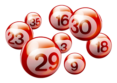 Red 3D Bingo Lottery Number Balls Isolated on White Background