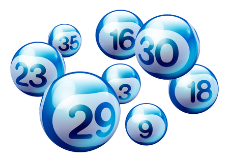 Blue 3D Bingo Lottery Number Balls Isolated on White Background Stock Illustratie