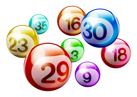 Colorful 3D Bingo Lottery Number Balls Isolated on White Background Stock Illustratie