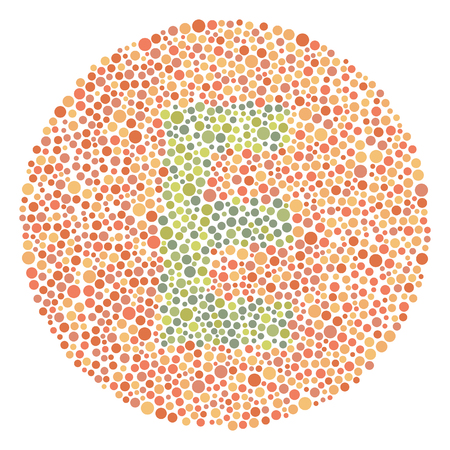 Daltonism Ishihara Test Red and Green Upper Letter E Illustration