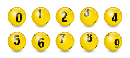 Yellow Balls Set with Black Text Number to 9 Vector Illustration