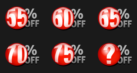 Red discount ball set 55% off to 75% off