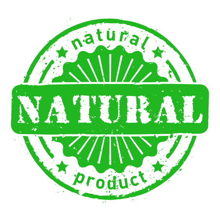 Vector green natural ingredients stamp