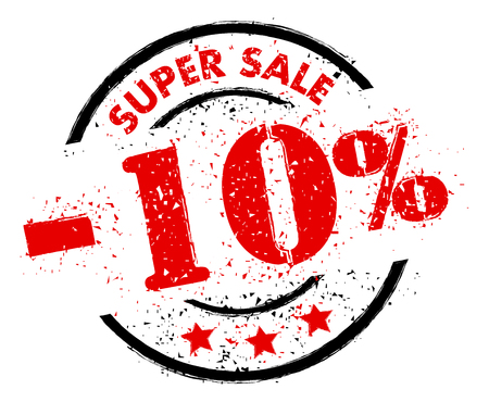 SUPER SALE 10% OFF rubber stamp grunge style 矢量图像