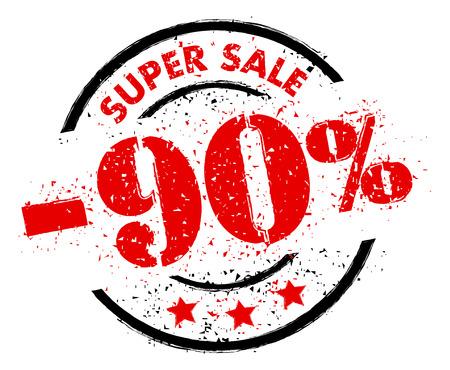 SUPER SALE 90% OFF rubber stamp grunge style 矢量图像