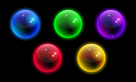 Vector glowing crystal sphere colorful set isolated on black background