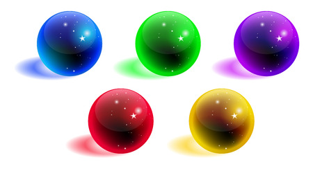 Vector crystal sphere colorful set with shadow isolated on white background