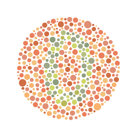 Daltonism Ishihara Test Red and Green Number 0 矢量图像