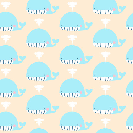 Vector baby pastel color whale character seamless pattern