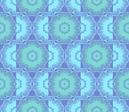 Vector abstract ornament floral seamless pattern background with color blue and green
