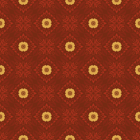 Vector abstract ornament floral seamless pattern background with color red and yellow 矢量图像