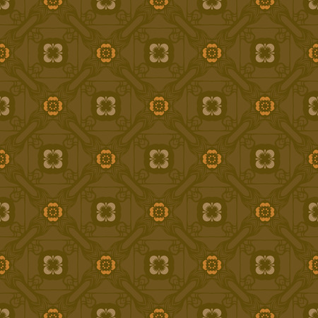 Vector abstract ornament floral seamless pattern background with color khaki and yellow 矢量图像
