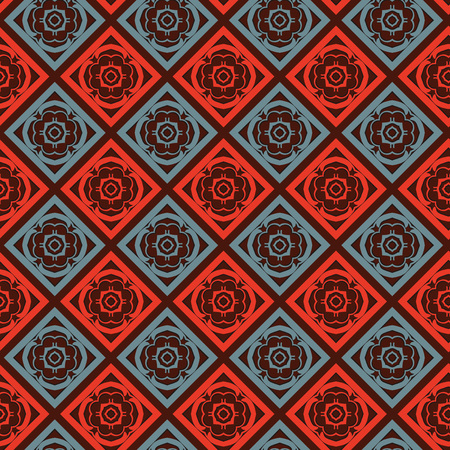 Vector abstract ornament floral seamless pattern background with color red and blue 矢量图像
