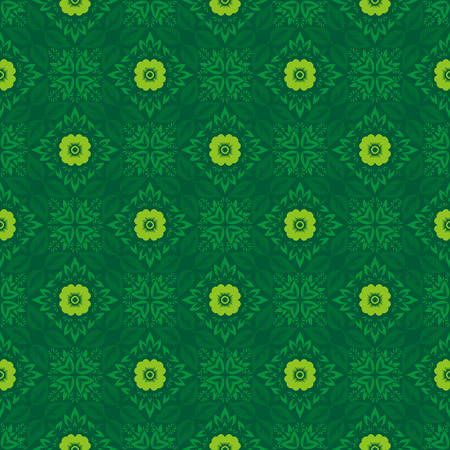 Vector abstract ornament floral seamless pattern background green color 矢量图像
