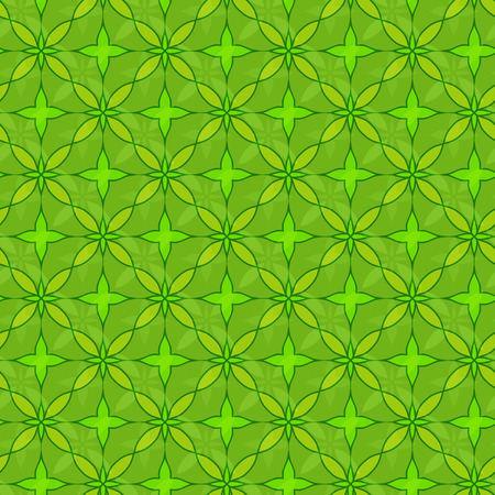 Vector ornament seamless pattern wallpaper, abstract green leaf Ilustrace