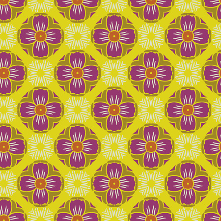 Vector ornament seamless pattern wallpaper, in purple and yellow theme