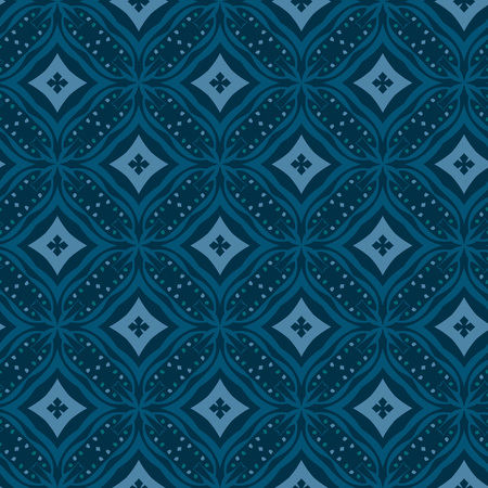 Vector ornament seamless pattern wallpaper, dark blue theme