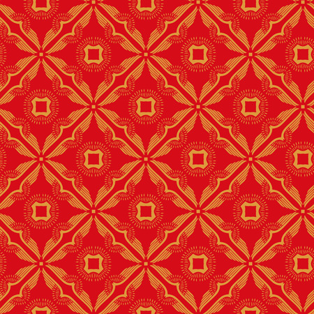 Vector ornament seamless pattern wallpaper, red and orange theme