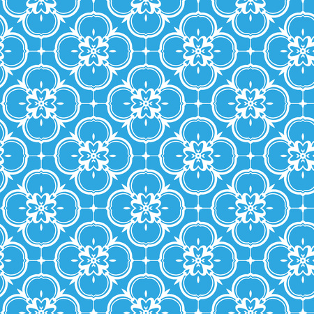 Vector ornament seamless pattern wallpaper, white blossoms on blue