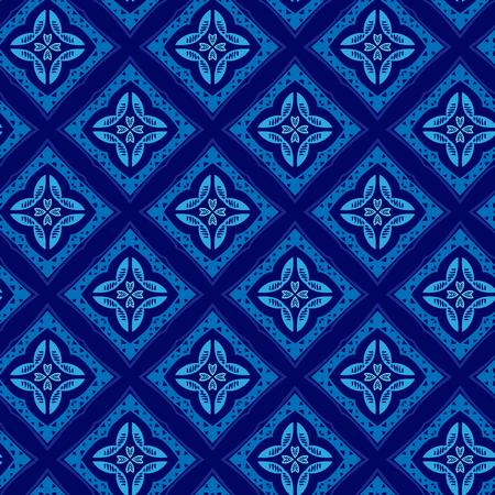 Vector ornament seamless pattern wallpaper, blue blossoms Ilustrace