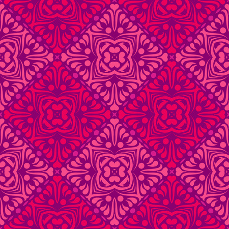 Vector ornament seamless pattern wallpaper, pink blossoms in diamond shape Ilustrace