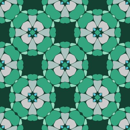 Vector ornament seamless pattern wallpaper, green blossoms