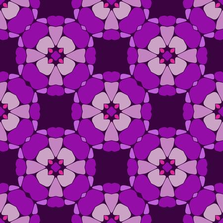Vector ornament seamless pattern wallpaper, purple blossoms