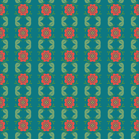 Vector ornament seamless pattern wallpaper, flowers on green Ilustrace