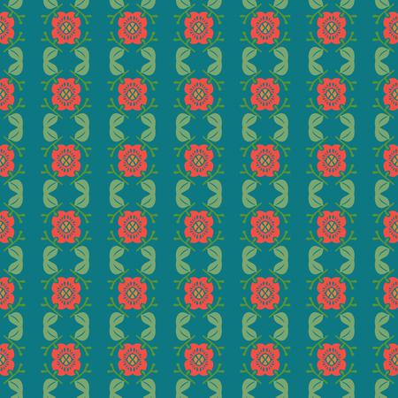 Vector ornament seamless pattern wallpaper, flowers on green 矢量图像