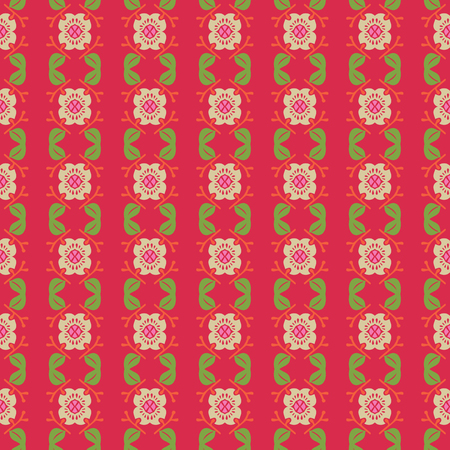 Vector ornament seamless pattern wallpaper, flowers on red