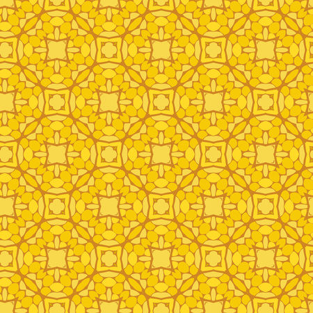 Vector ornament seamless pattern wallpaper, hydrangea blossoms in yellow Ilustrace