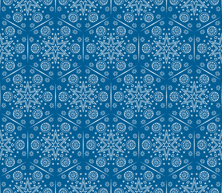Vector ornament seamless pattern wallpaper, white snow flakes on blue Ilustrace