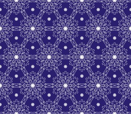 Vector ornament seamless pattern wallpaper, white snow flakes on blue 矢量图像