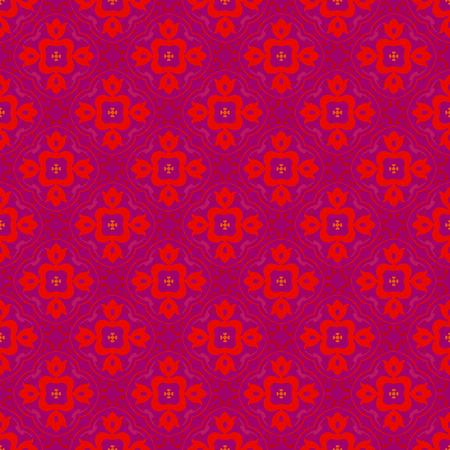 Vector ornament seamless pattern wallpaper, red flower on purple