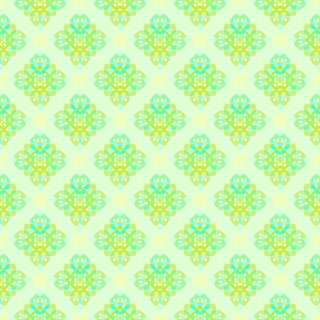 Vector ornament seamless pattern wallpaper, in green theme
