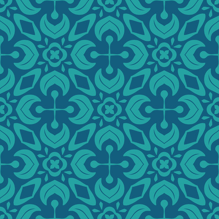 Vector ornament seamless pattern wallpaper, in blue theme