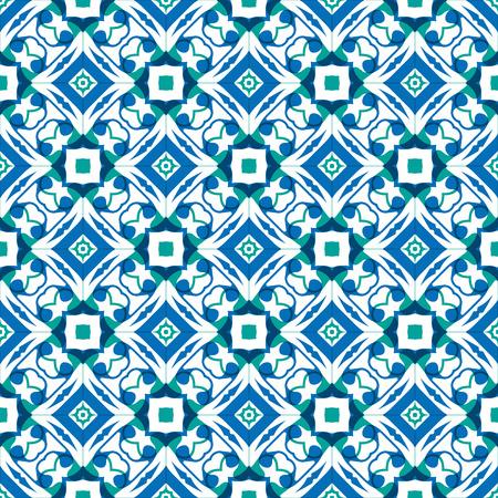 Vector ornament seamless pattern wallpaper, blue theme