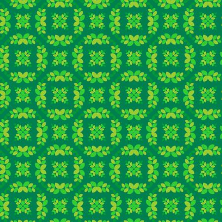 Vector ornament seamless pattern wallpaper, green laurel