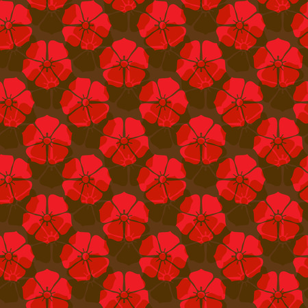 Vector ornament seamless pattern wallpaper, red flowers on brown Ilustrace