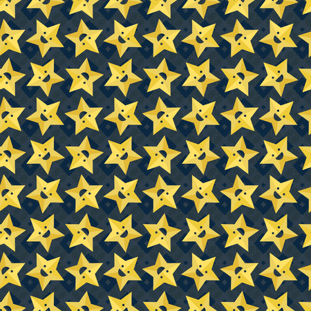 Vector ornament seamless pattern wallpaper, smiling stars on dark blue