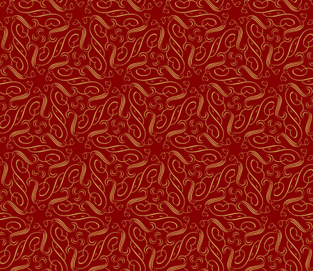 Vector ornament seamless pattern wallpaper, royal gold curve on red Ilustrace