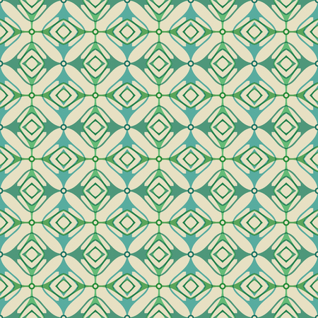Vector ornament seamless pattern wallpaper, retro style in green Ilustrace